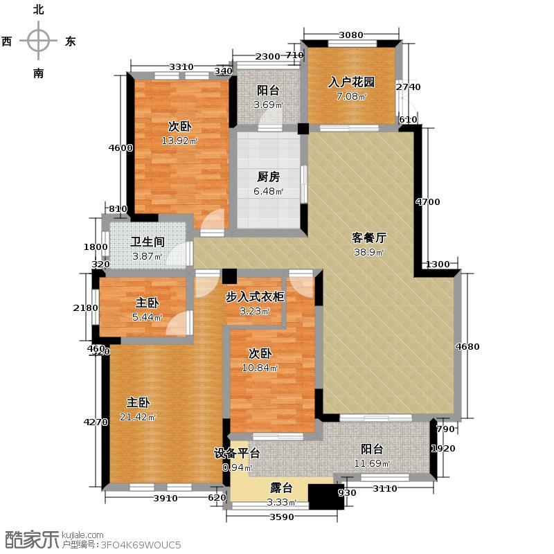 银翔翡翠谷121.79㎡B4户型10室