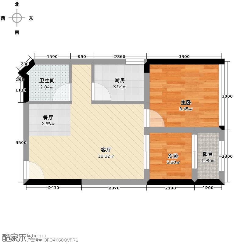 高家庄赞城53.09㎡公寓T2户型1室2厅1卫