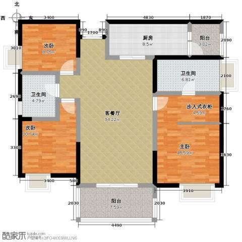 协信阿卡迪亚3室1厅2卫1厨112.00㎡户型图