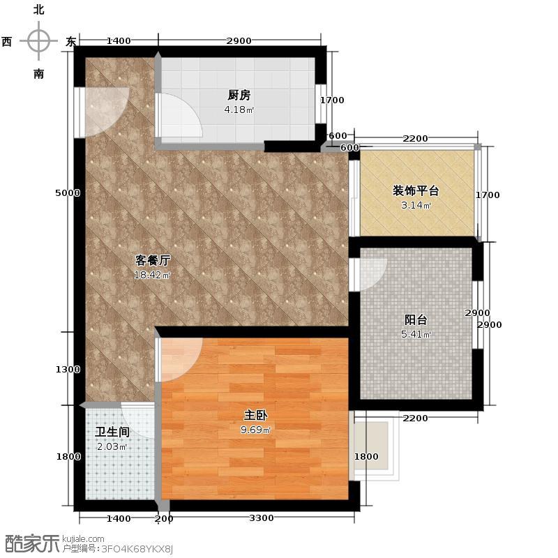北岸56.00㎡B奇数层户型1室1厅1卫