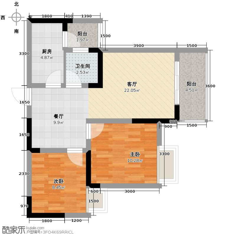 春语江山60.03㎡5号楼3号单卫双阳台户型2室2厅1卫