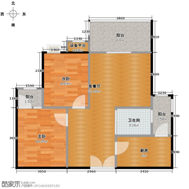 泽瑞琥珀居57.04㎡C-14#/8#/9#小高层户型2室1厅1卫1厨