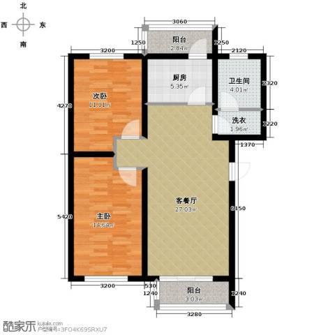 翰林雅苑2室2厅1卫0厨92.00㎡户型图