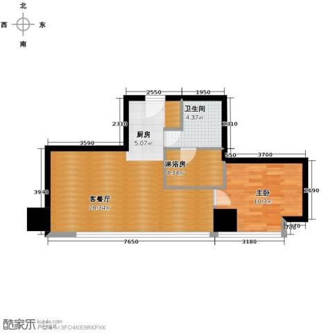 公园18721室1厅1卫0厨78.00㎡户型图