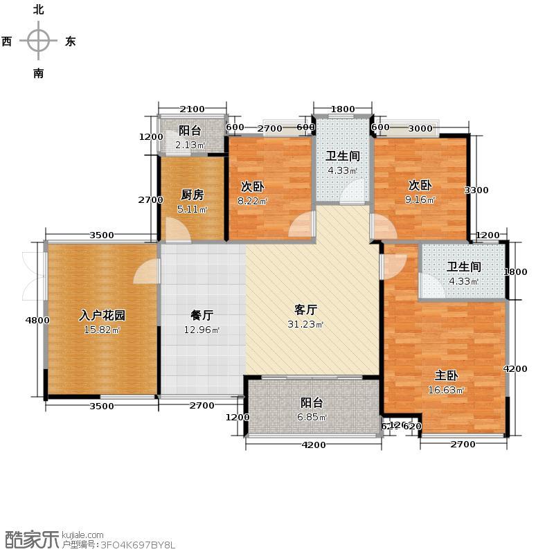 滨江一号126.76㎡5#楼01奇数层户型3室1厅2卫1厨