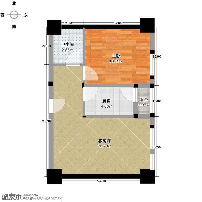 尊城国际62.23㎡1号楼F1户型1室1厅1卫