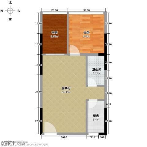 长帆江岸公馆2室1厅1卫1厨49.00㎡户型图