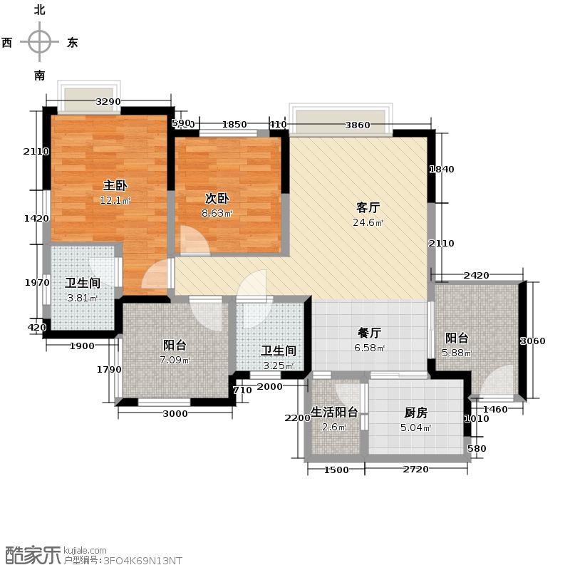 北辰美庐87.03㎡C-1实得面积10791户型2室1厅2卫1厨