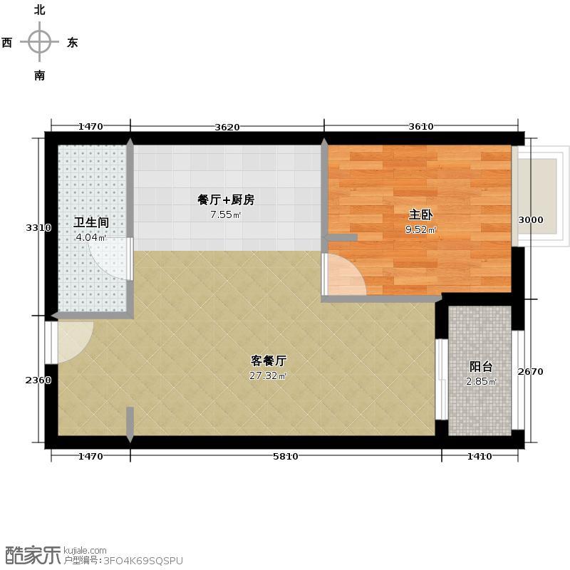 北京华贸城65.00㎡13、14号楼R-02户型10室