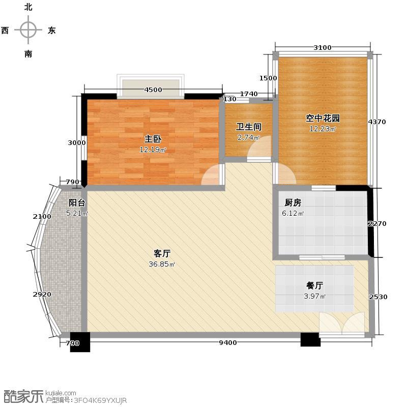 锦秀豪庭89.65㎡户型1室1厅1卫1厨