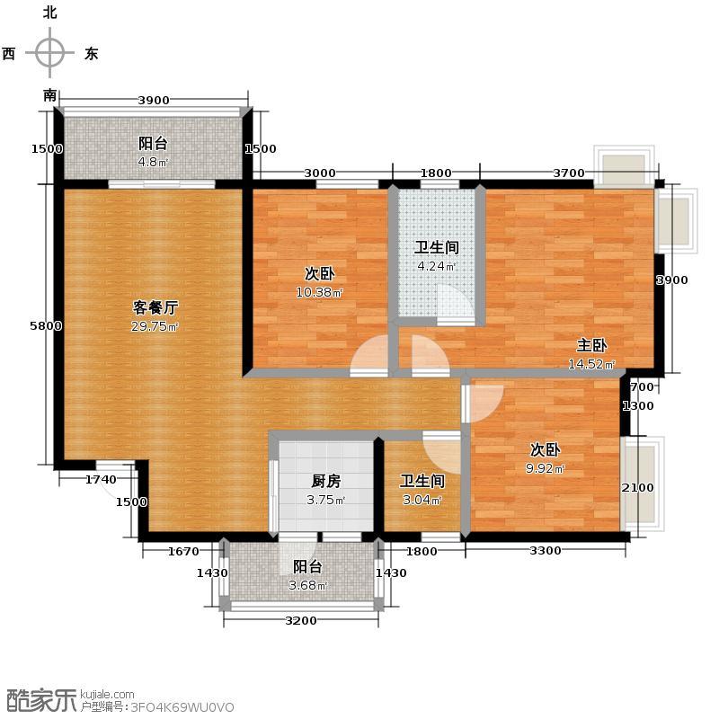 春语江山100.00㎡1号楼B双阳台户型3室2厅2卫
