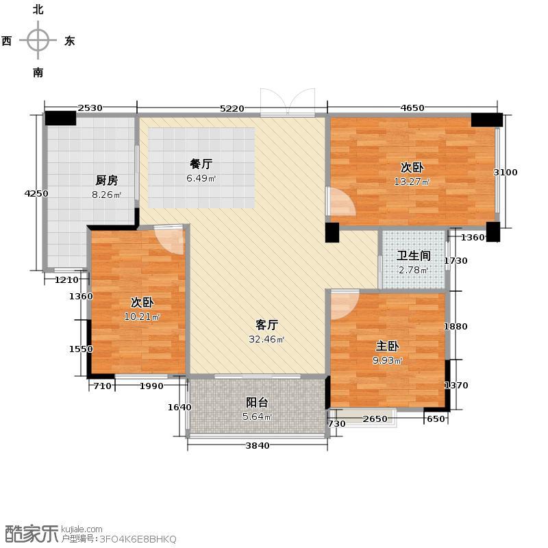汉口湖畔107.02㎡5号楼D-2b户型3室2厅1卫