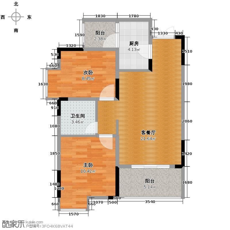 泽瑞琥珀居57.23㎡C-34#/8#/9#小高层户型2室1厅1卫1厨