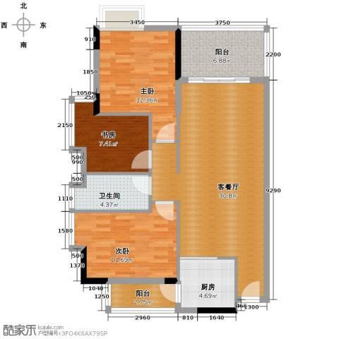 新时代家园3室2厅1卫0厨92.00㎡户型图