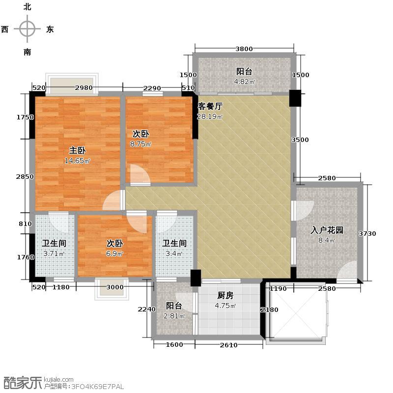 利泰花林湖畔99.97㎡阳光组团3号楼1/3梯4号楼2梯2-9层01户型3室2厅2卫