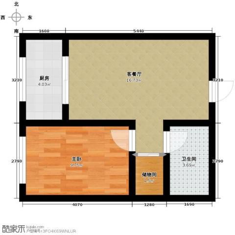高新大都荟1室2厅1卫0厨59.00㎡户型图