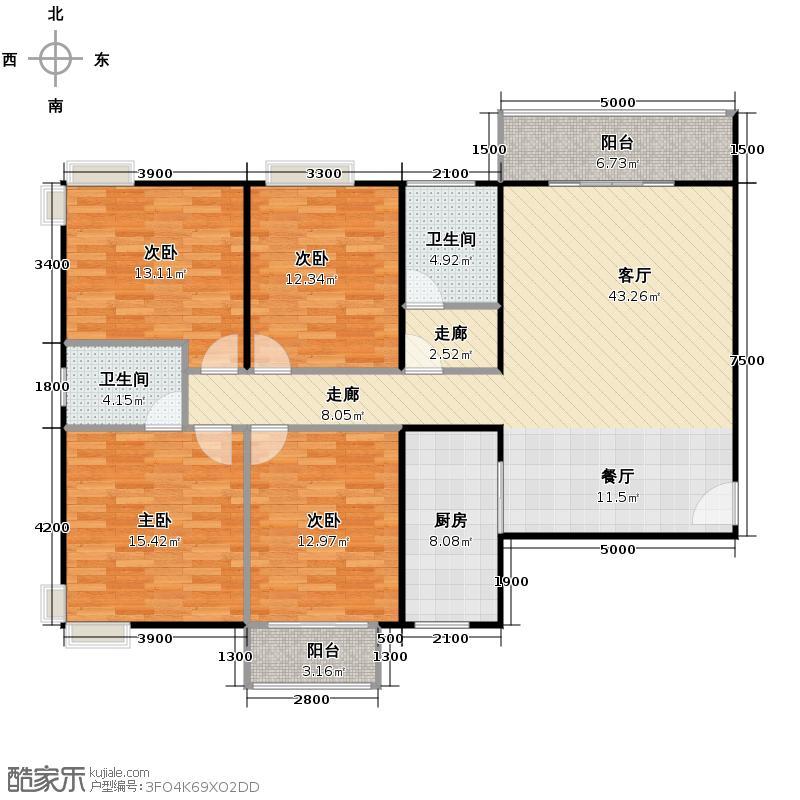 百汇华庭136.06㎡户型4室1厅2卫1厨