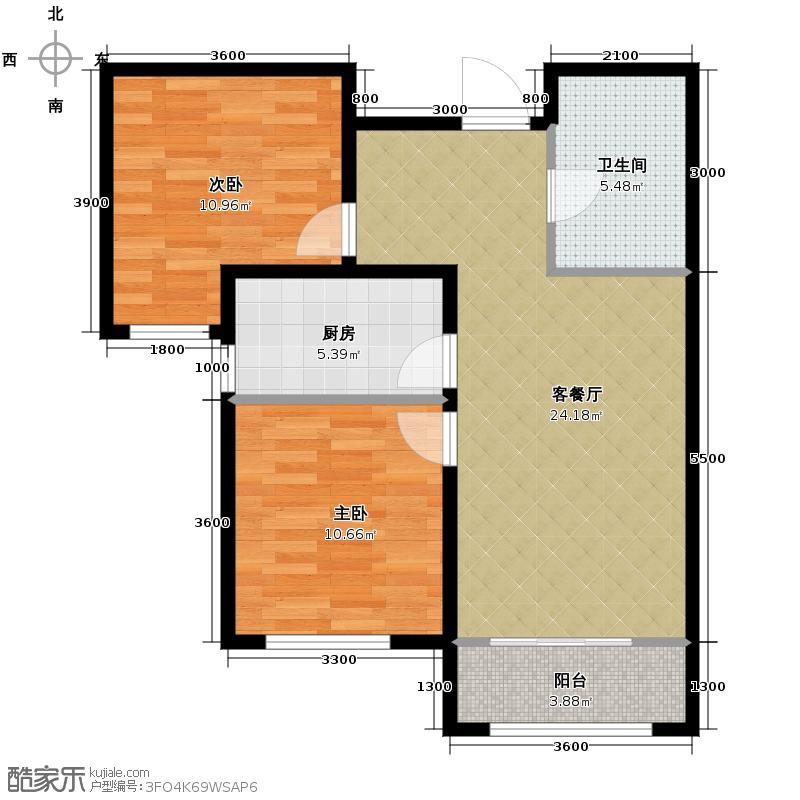 中国铁建国际城89.00㎡D1户型2室2厅1卫