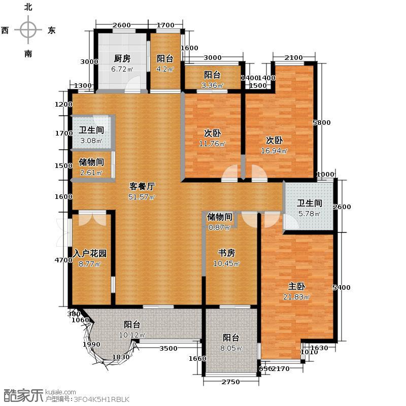 九锦台205.83㎡1号楼二单元F1户型4室2厅2卫