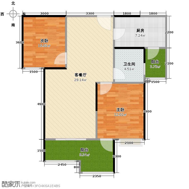 东原D7区81.26㎡4期6号楼B3户型2室2厅1卫