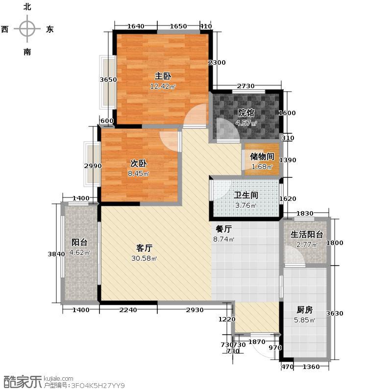 金茂珑悦82.83㎡15号楼2号房单卫带院馆户型2室2厅1卫