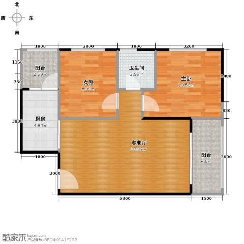 当代国际花园十五区高层2室2厅1卫0厨69.00㎡户型图