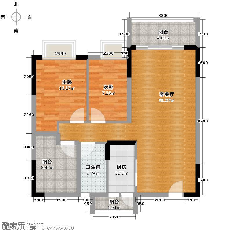 长信银湾82.00㎡23栋02单位户型3室2厅1卫