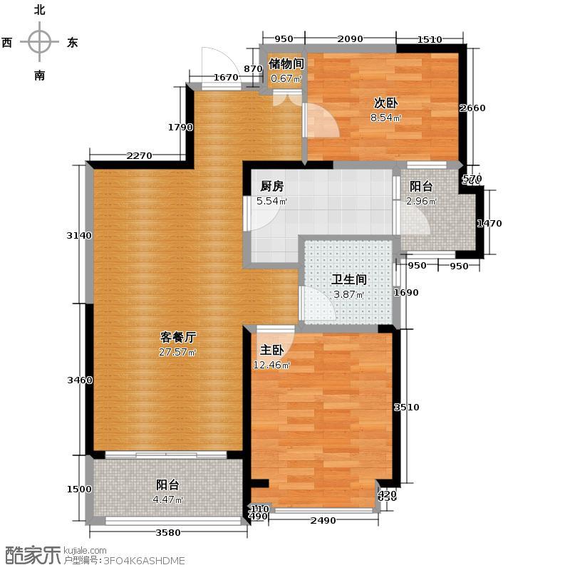 天津碧桂园90.00㎡J82B2户型2室2厅1卫