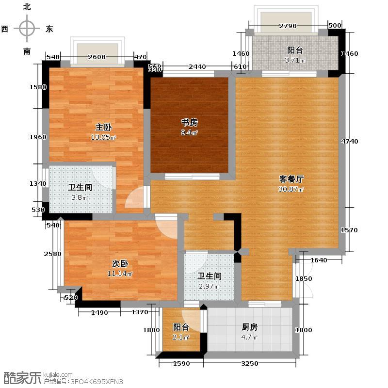 金隅大成时代都汇87.00㎡B1C3-(可变)-户型2室2厅2卫
