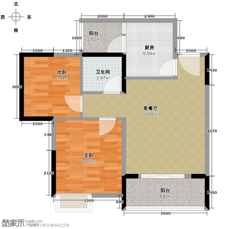 珠江太阳城捌零公馆57.56㎡2期C2栋3、8号房标准层户型2室2厅1卫