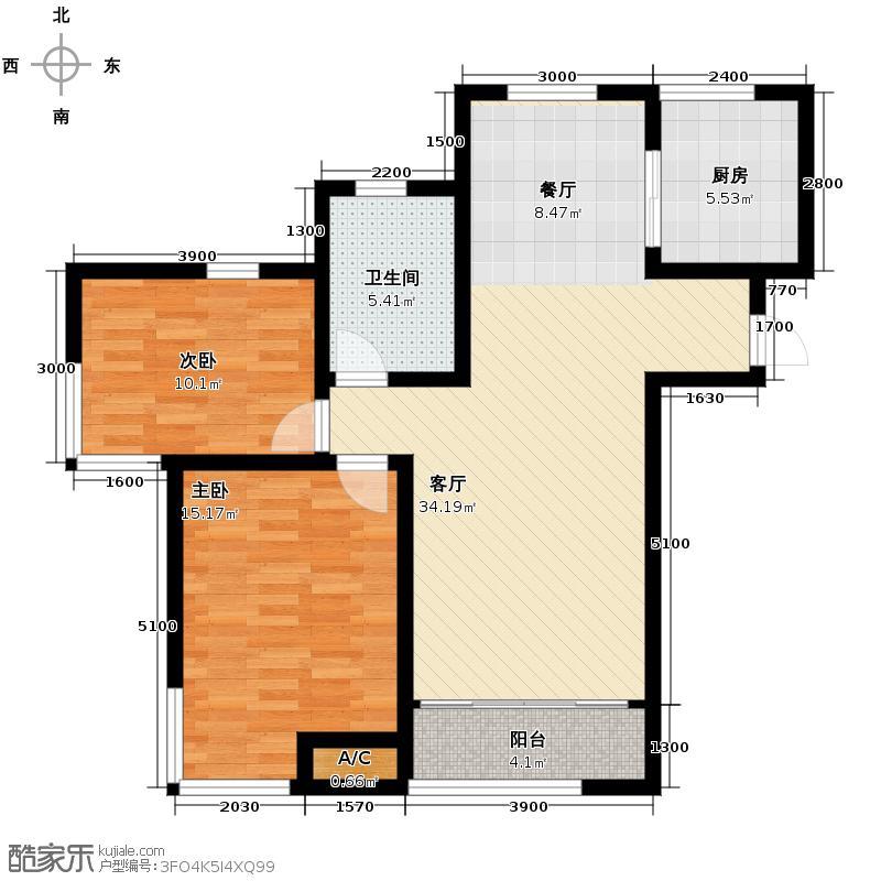 松江运河城86.31㎡B1户型2室2厅1卫