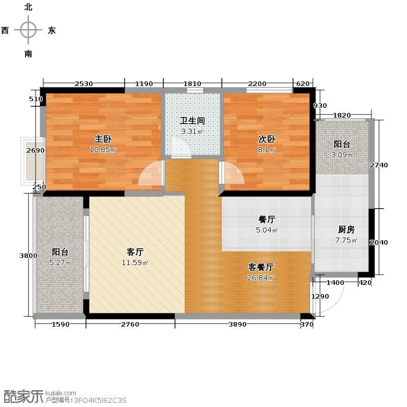 恒鑫名城二期68.12㎡4栋A户型2室1厅1卫1厨