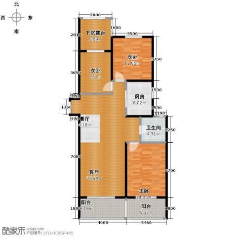 河东万达广场3室2厅1卫0厨130.00㎡户型图