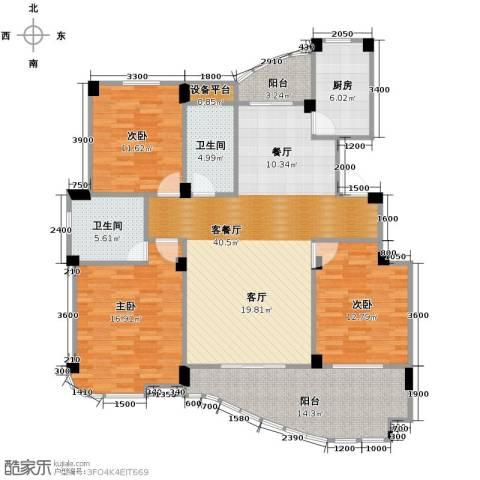 丁香花园3室1厅2卫1厨139.00㎡户型图