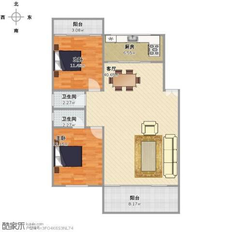 汇禾新城2室1厅2卫1厨116.00㎡户型图