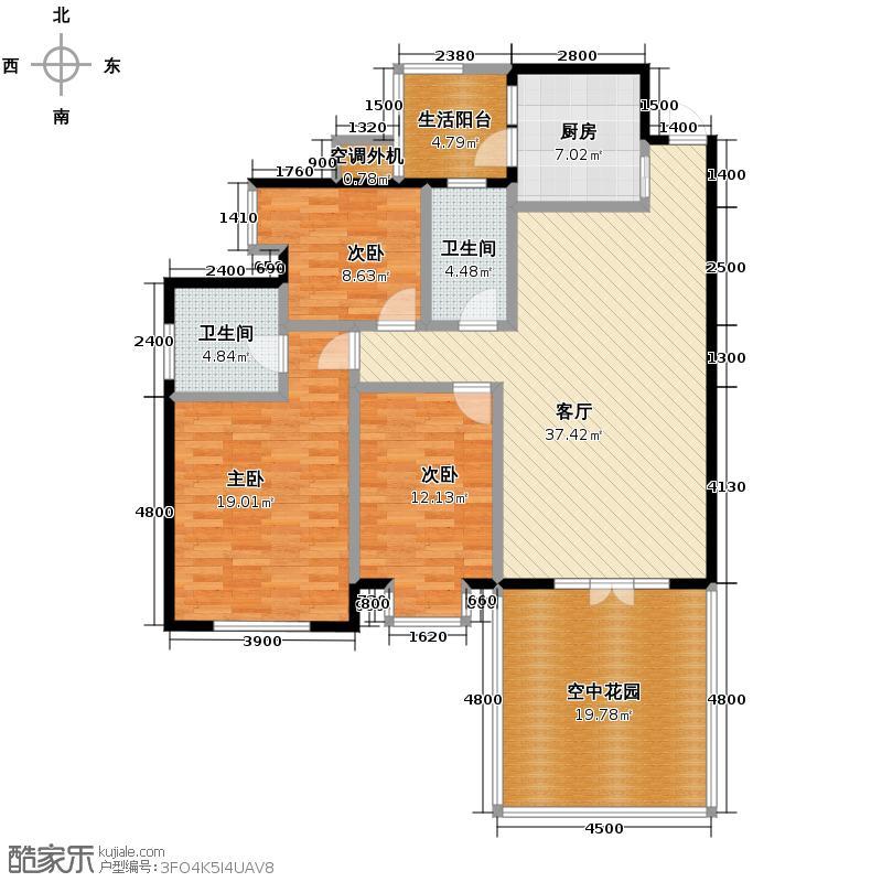 南湖国际社区130.00㎡6期镜湖G7偶数层户型3室2厅2卫