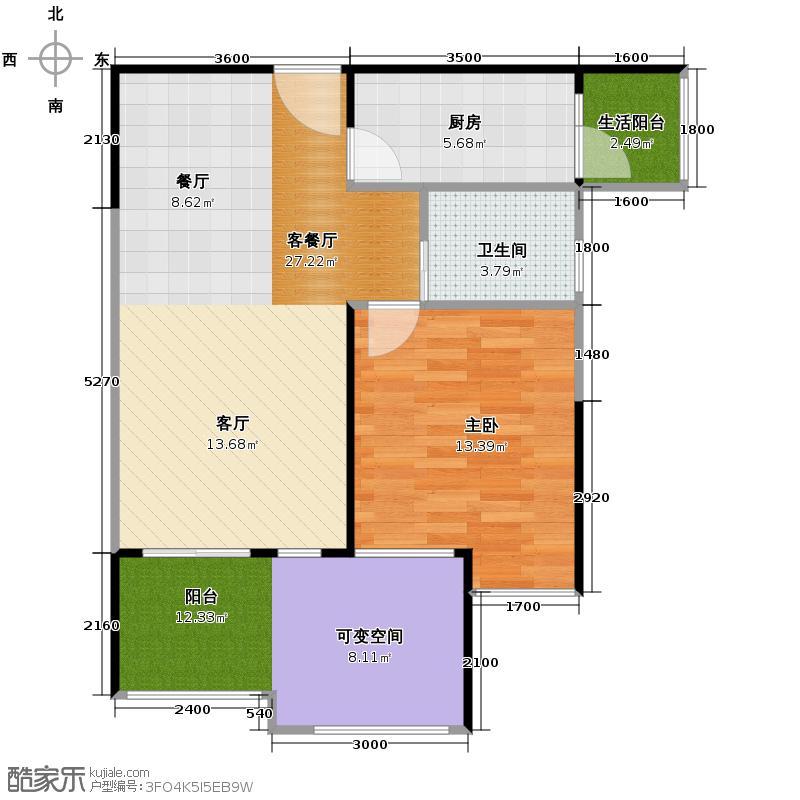 联发嘉园69.73㎡一期2号楼B2-6户型1室1厅1卫1厨