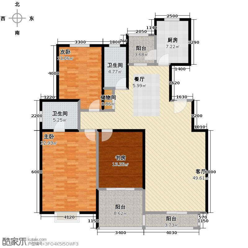 高科尚都169.00㎡6、10号楼在售中心景观位置朝南户型3室2厅2卫