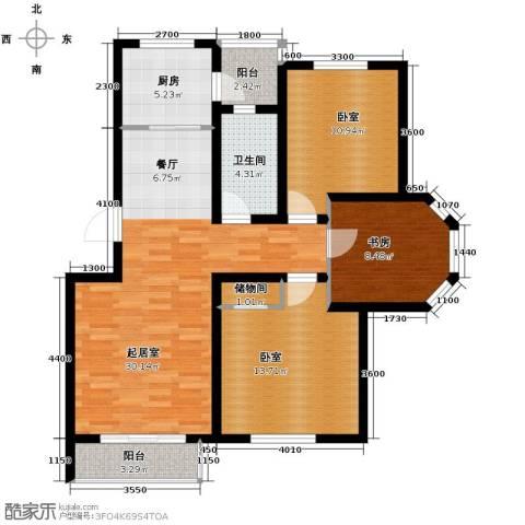 翰林雅苑3室2厅1卫0厨101.00㎡户型图