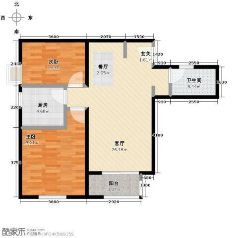 天和林溪2室2厅1卫0厨82.00㎡户型图