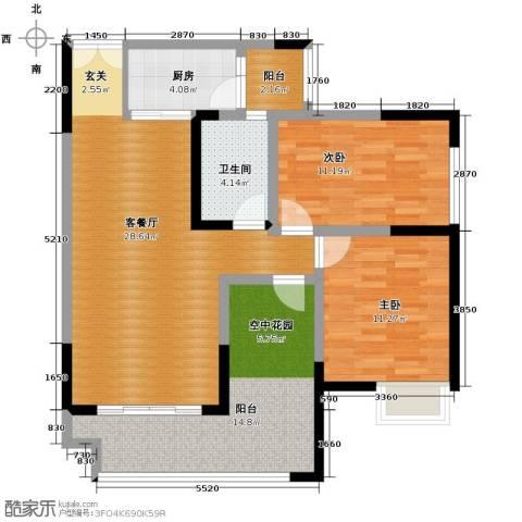 春江花月2室1厅1卫1厨76.27㎡户型图