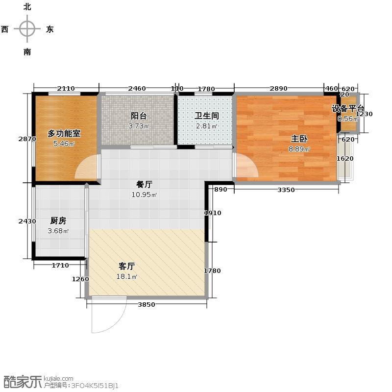 清江山水55.31㎡E1一期户型2室2厅1卫