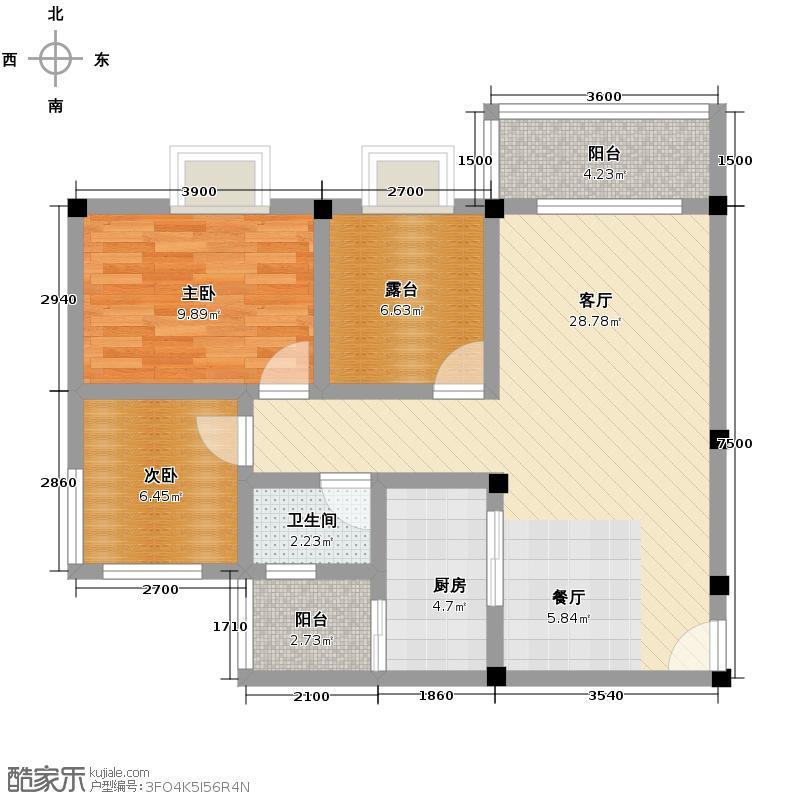 鼎秀风林77.34㎡户型2室1厅1卫1厨