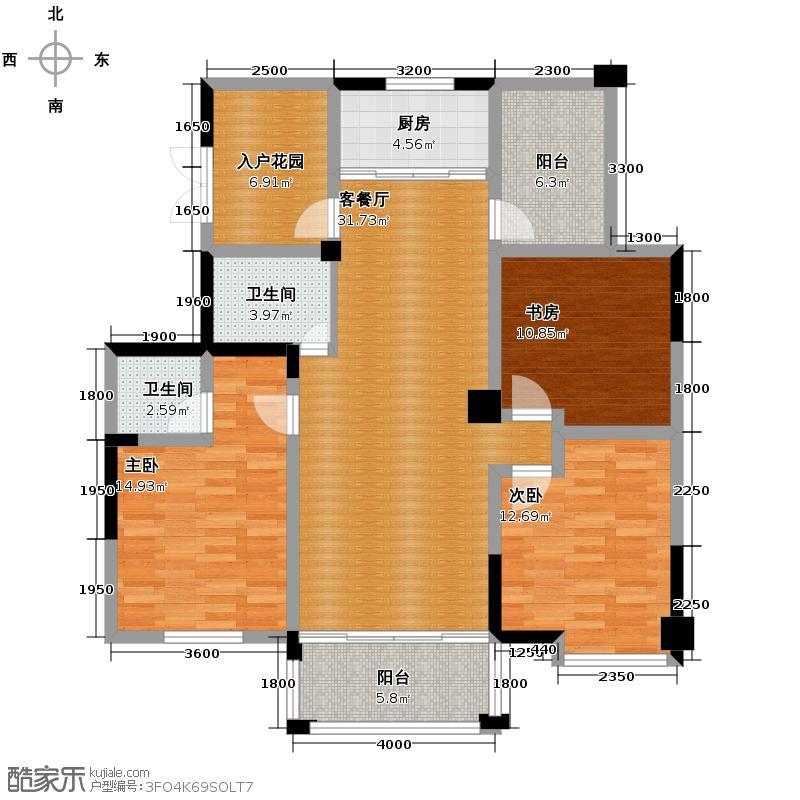 冠达豪景东苑135.54㎡F4户型3室2厅2卫