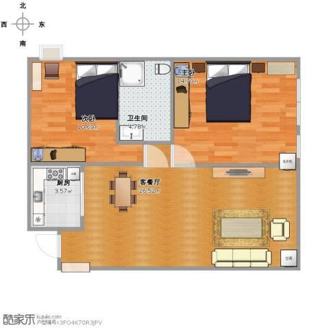 新富城小区2室1厅1卫1厨81.00㎡户型图