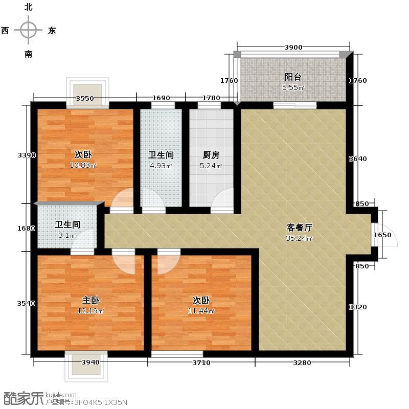 安诚御花苑124.59㎡B1-2-A1户型3室2厅2卫