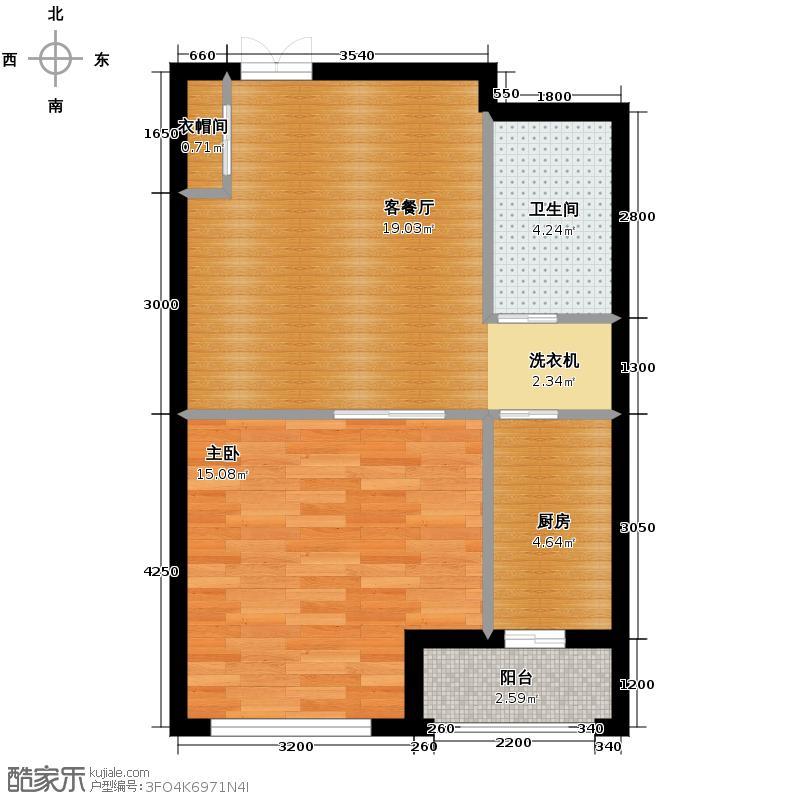 保利金香槟63.00㎡b层公寓户型1室2厅1卫