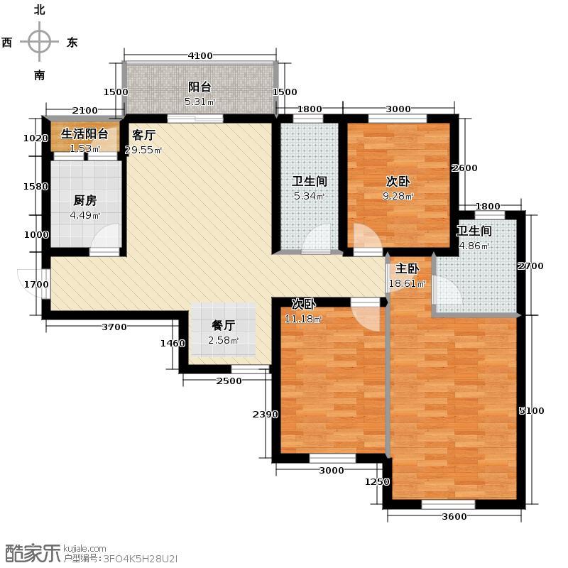 锦湖金利花园127.00㎡四期D5户型3室1厅2卫1厨