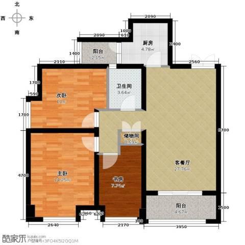 御城华府3室1厅1卫1厨81.00㎡户型图