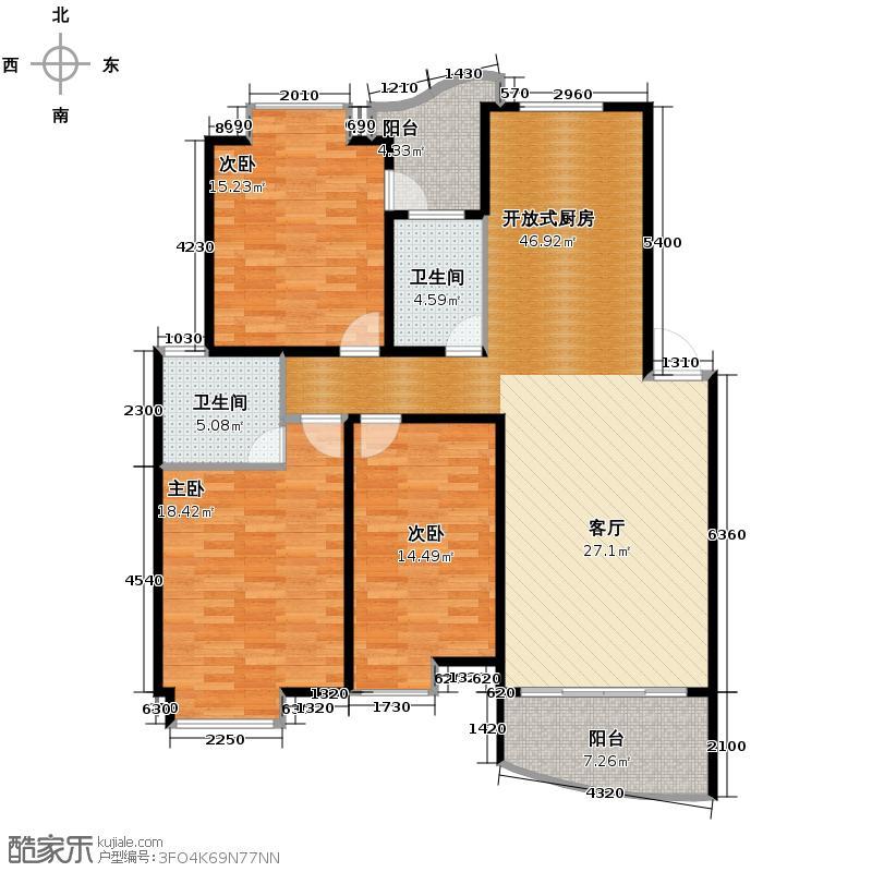 锦绣365126.60㎡和谐名典居户型3室2卫